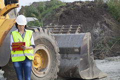 Woman engineer on a construction site Royalty Free Stock Photography