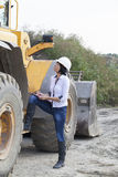 Woman engineer on a construction site Stock Image