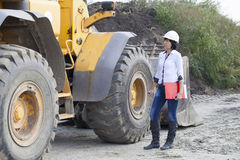 Woman engineer on a construction site Royalty Free Stock Photo