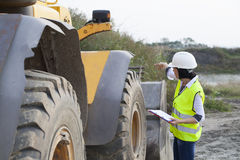 Woman engineer on a construction site Royalty Free Stock Image