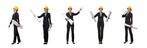 The woman  engineer with draft papers. Woman  engineer with draft papers stock images