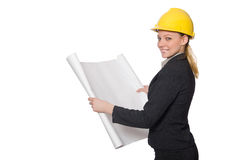 Woman engineer with draft papers Royalty Free Stock Images