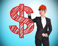 Woman engineer drawing dollar Royalty Free Stock Photography