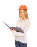 A woman engineer in helmet stock illustration