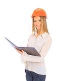 A woman engineer in helmet Stock Photo