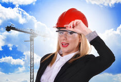 Woman engineer in helmet Royalty Free Stock Photography