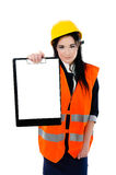 Woman engineer holding clipboard  Royalty Free Stock Photo