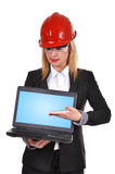 Woman engineer holding laptop Royalty Free Stock Photography