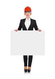 Woman engineer holding poster Royalty Free Stock Photos