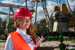Woman Engineer In The Oilfield Stock Photos