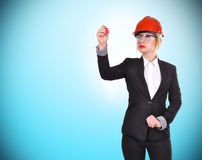 Woman engineer with pen Stock Photo