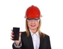 Woman engineer with phone Stock Photo