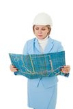 Woman engineer with plan Royalty Free Stock Images