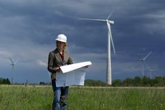 Free Woman Engineer Safety Hat Wind Turbines Royalty Free Stock Image - 6324486