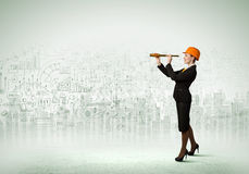 Woman engineer with scope Royalty Free Stock Photo