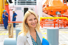 Woman engineer shipbuilder Royalty Free Stock Photo