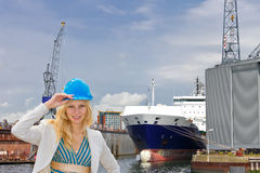 Woman engineer shipbuilder Royalty Free Stock Photography