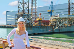Woman engineer shipbuilder Stock Images