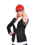 Woman engineer showing stop Royalty Free Stock Photos
