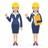 Woman engineer showing thumbs up Stock Photos
