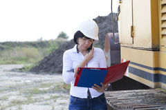 Woman engineer on site telephone call Royalty Free Stock Photos