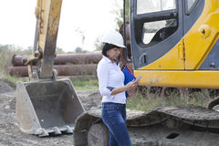 Woman engineer on site telephone call Stock Photo