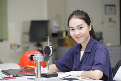 Woman engineer use vernier height gauge Royalty Free Stock Image