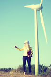 Woman engineer at wind farm Stock Photography