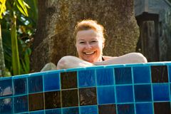 Woman is enjoing the fresh water Royalty Free Stock Photo