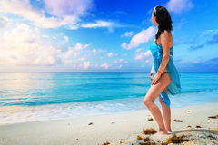 Woman enjoing sun holidays at the beach Royalty Free Stock Images