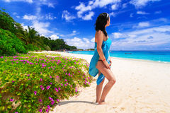 Woman enjoing sun holidays at the beach Stock Photo