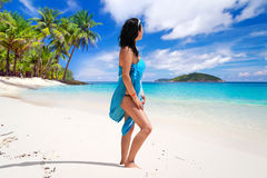 Woman enjoing sun holidays at the beach Royalty Free Stock Photo