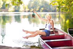 Woman enjoing the sunny summer day, Stock Photos