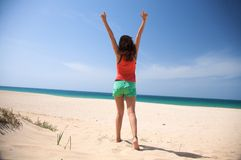 Woman enjoy beach. Woman at beach of palmar in cadiz spain Royalty Free Stock Image