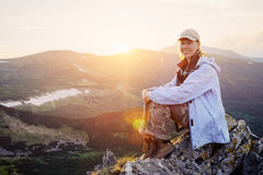 Woman enjoy the beautiful view in the mountains Royalty Free Stock Photography
