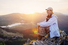 Woman enjoy beautiful view in the mountains Royalty Free Stock Photos
