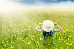 Woman enjoy blossom meadow Royalty Free Stock Photography