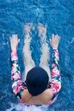 Woman enjoy blue pool water Royalty Free Stock Photos
