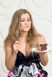 Woman enjoy cake Stock Photos