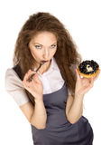Woman enjoy cake Royalty Free Stock Photo