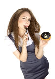 Woman enjoy cake Royalty Free Stock Photography