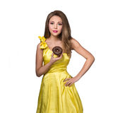 Woman enjoy chocolate donut cake Stock Image