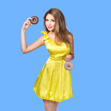 Woman enjoy chocolate donut cake Royalty Free Stock Images