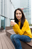 Woman enjoy coffee Royalty Free Stock Images