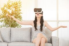 Woman enjoy experience vr headset Royalty Free Stock Images