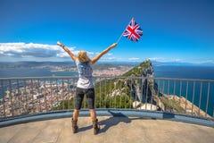 Woman enjoy at Gibraltar Royalty Free Stock Photos