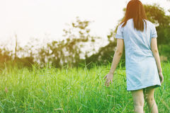 Woman enjoy grass flower in meadow Royalty Free Stock Images