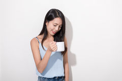 Woman enjoy her coffee Stock Photos