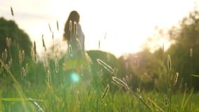 Woman enjoy life, dance and whirl in green field. Girl silhuette against setting sun stock video