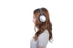 Woman enjoy the music royalty free stock photos